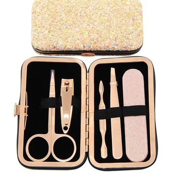 Rose Gold Beauty Tools Manicure  Glitter Travel Pedicure Set Nail Clipper