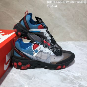 DCCK N893 Nike Air React Element 87 Breathable Running Shoes Black Red Blue