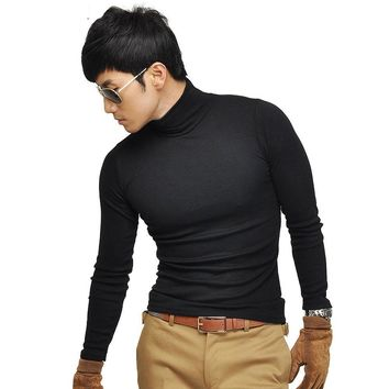 Men's turtleneck high-elastic T Shirts