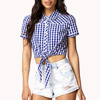 FOREVER 21 Cropped Gingham Shirt Navy/Cream