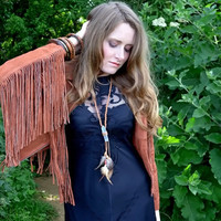 Natural fall autumn kyanite crystal feather necklace, Boho, Chic, Native american
