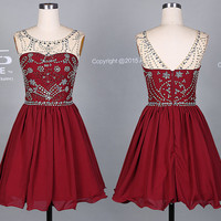 Burgundy Short Prom Dress/Silver Beading Homecoming Dress/Beading Knee Length Party Dress/Wedding Party Dress DH379