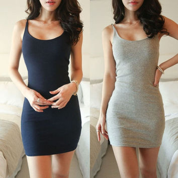 Women Sexy BodyCon Evening Party Package Hip Condole Belt Vest Dress S/M/L/XL/XXL = 1946248516
