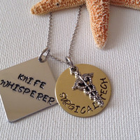 Surgical tech necklace or keyring, medical, surgery assistant, knife whisperer, handstamped, personalized, surgery profession, surgery techs