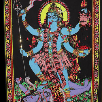 Goddess Kali Yoga Boho Bohemian Tapestry Sequin Accent Wall Hanging