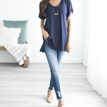 Let's Be Friends Rolled Sleeve V-NECK Tunic Top - Navy