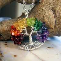 Tree of Life necklace - Rainbow Tree of life - Garnet Carnelian Citrine Peridot Emerald Iolite Amethyst - Sterling Silver gemstone mixed
