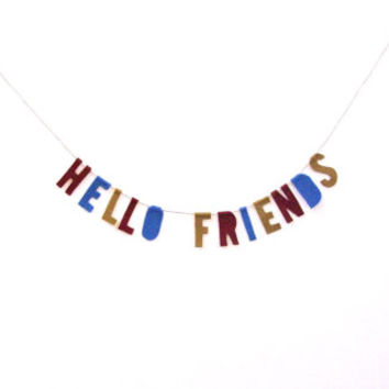 Hello Friends felt banner wall hanging, housewarming banner in saffron yellow, deep red and periwinkle blue
