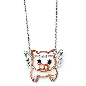 Cheryl M Sterling Silver Rose-gold Plated CZ Flying Pig 18in. Necklace QCM859