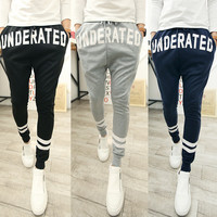 Korean Men Print Sportswear Casual Pants Skinny Pants [6533777351]