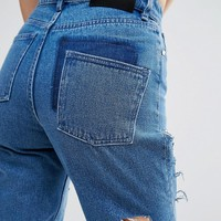 Waven Elsa Mom Jeans with Cut Away at asos.com