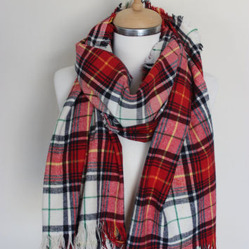 Classic Tartan Scarf Red Green Ivory Tartan Scarf, Classic Plaid Flannel Scarf, Sports, Camp, Scottish Scarf, Tartan Plaid Shawl, Zara Scarf