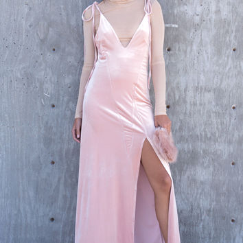 Blush Velvet Slit Maxi Dress