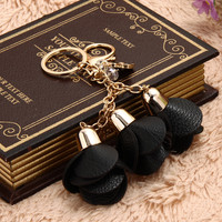 Camellia Leather Keychain Bag Pendant Car Ornaments Long Key Chain Best Gift to Friends  SN9