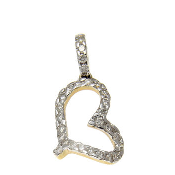 0.18CT TW DANGLING DIAMOND HEART PENDANT 14K YELLOW GOLD