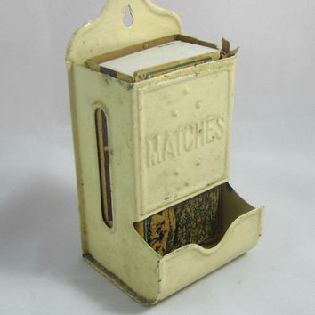 Vintage Metal Match Holder Fireplace Accessory with Old Matchbox Vintage 30's