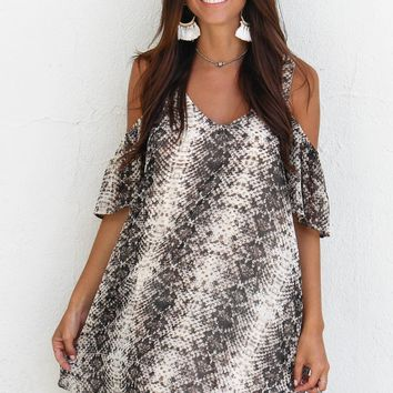 Not Interested Snake Print Cold Shoulder Dress