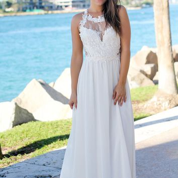 Ivory Maxi Dress with Lace Top