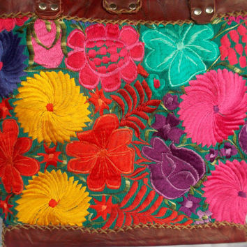 Beautiful Vintage Huipil Bag. Bright Flower Motif Handmade In Guatemala.
