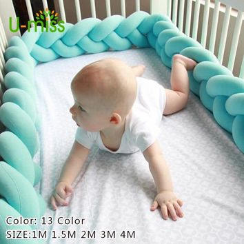 U-miss 1M-4M Baby Bed Bumper Knotted Cotton Braid Pillow Cushions Kids Room Decoration Stuffed Plush Toys Bed Around Protection