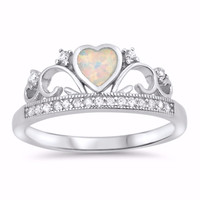 Sterling Silver CZ Lab White Opal Simulated Diamond Crown Tiara Ring 8MM
