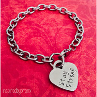 Gorgeous charm bracelet with a Tiffany style heart, personalized, engraved