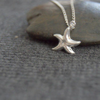 silver starfish necklace, sterling silver sea star necklace, ocean necklace, tiny starfish necklace, nature jewelry, everyday necklace