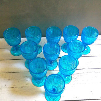 Small Turquoise Depression Glass Goblets/ Set of 11 Depression Glass Goblets/ Turquoise Hobnail Depression Glasses/ Blue Depression Glass
