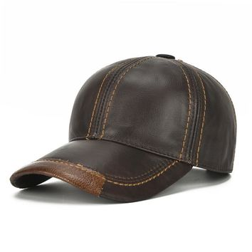 Trendy Winter Jacket Genuine Cowhide Baseball Caps For Men Autumn Winter Warm Leather Snapback Hat,New Retro Male Visor Sun Caps Chapeu For Dad Gift AT_92_12