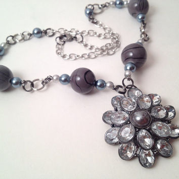 Silver and gray rhinestone flower necklace by MynisaUnique on Etsy