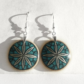 Sterling Silver Earring Wood Earring, Handcrafted Earrings, Hand Painted Earring, Midnight Green Earring, Wooden Dangle Earrings by Artdora