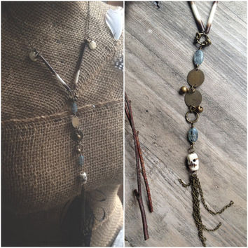 Porcupine quill with kyanite gypsy bells and carved bone skull necklace,Porcupine Jewelry, Skull jewelry,Tribal necklace, Earthy, Tassel