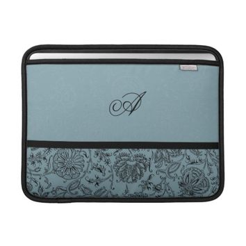 Blue Flower Monogram Custom MacBook Air Sleeve