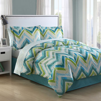 Connor Chevron 8-piece Bed in a Bag Comforter Set   Overstock.com Shopping - The Best Deals on Teen Bed in a Bags