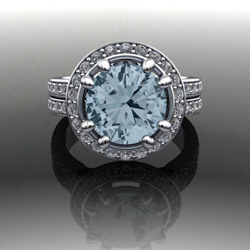Blue Topaz and Diamond Engagement Ring or Anniversary Ring
