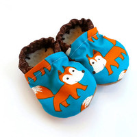 fox baby shoes fox slippers blue and orange shoes for baby boy fox baby clothing what does the fox say foxes for baby fox gift for baby fox