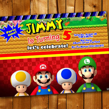 Mario brothers, Birthday Invitation, Birthday Party for little boy and little girl