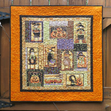 Halloween Quilted Wall Hanging / Table Topper Quilt Panel Broom Sweepers Orange 639