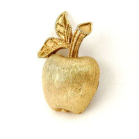 Avon Gold Tone Apple Pin, Vintage Small Fruit Brooch