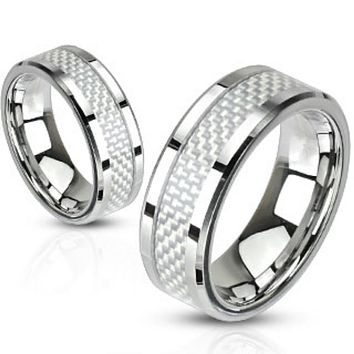 White Carbon Fiber Inlay Band Ring Stainless Steel