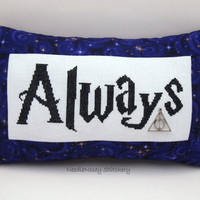 Harry Potter Cross Stitch Pillow, Purple Pillow, Always