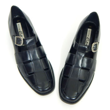 Sz 8 - 90s Woven Black Leather Buckle Women's Shoes - Chunky T Strap Loafer - Hillard and Hansen