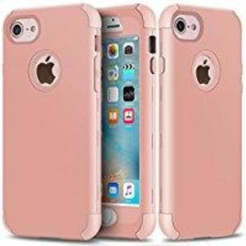 iPhone 6 Plus Case, iPhone 6S Plus Case, SUMOON [Drop Protection] Hybrid Heavy Duty Three Layer Verge Shockproof Full-Body Protective Armor Defender Case for iPhone 6S Plus 5.5 Inch (Marble rosegold)
