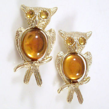 Vintage Owl Brooch Amber Cabochon Chest Gold-tone Setting Set of 2
