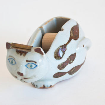 Takahashi Japanese Cat Tape Dispenser, Hand Painted Stoneware Tape Holder, Desk Organization and Office