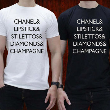 Lipstick Stilettos Diamonds Champagne T-Shirt Tee Shirts Black and White For Men and Women Unisex Size by distroparagon