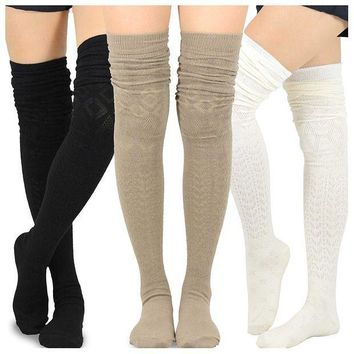 ESBON8C Teehee Women's Fashion Extra Long Cotton Thigh High Socks - 3 Pair Pack