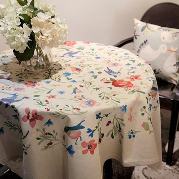 Lillian Table Cloth Pastoral Flower And Birds Round Coffee Dining Decor Cover Polyester Faux linen Digital Print Tablecloth