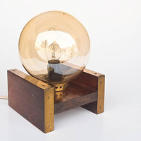 Vintage Table Lamp / Modernist Bedside Lamp / Mid - Century Lighting /  Brown Wood & Brass