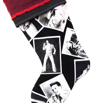 Elvis Christmas Stocking, Elvis Presley Stocking, Elvis Presley Decor, Black and White Elvis